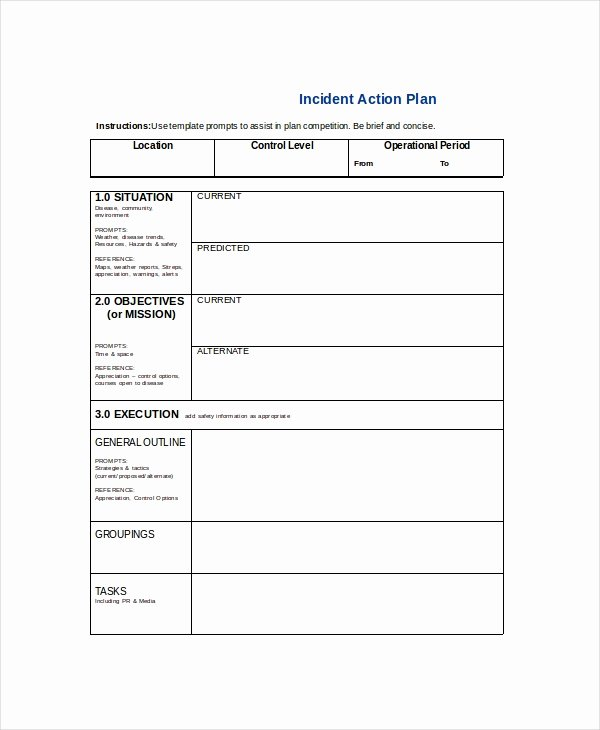 Incident Action Plan Template Awesome Word Action Plan Template 7 Free Word Document