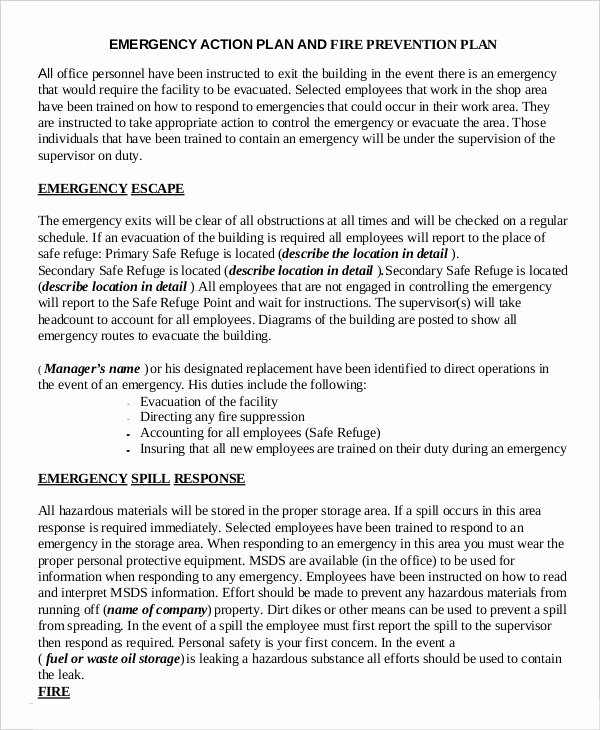 Incident Action Plan Template Fresh Emergency Action Plan Template 9 Free Sample Example