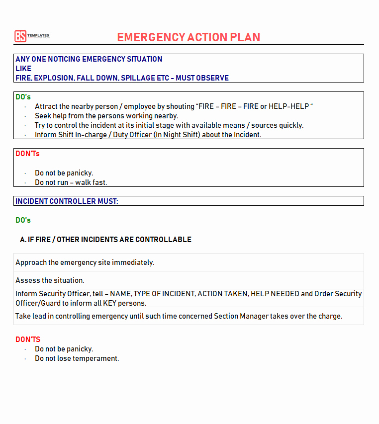 Incident Action Plan Template Inspirational Action Plan Templates – Free Templates [word