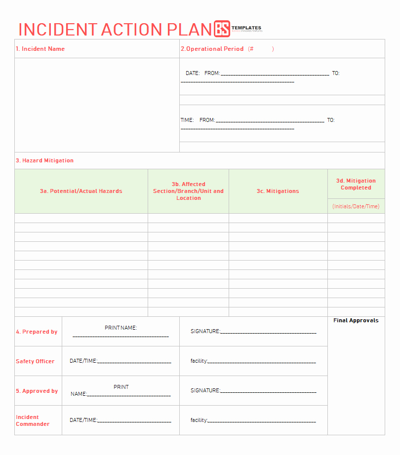 Incident Action Plan Template Lovely Action Plan Templates – Free Templates [word