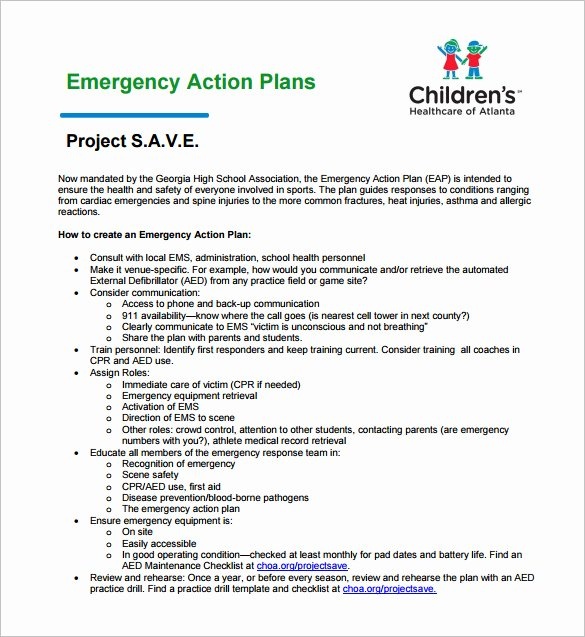 Incident Action Plan Template Luxury Emergency Action Plan Template 8 Free Sample Example