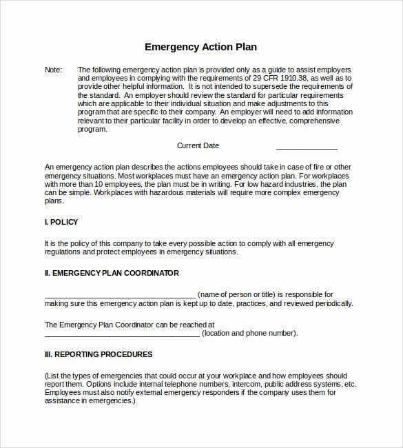 Incident Action Plan Template Unique Sample Emergency Action Plan Template 9 Documents In