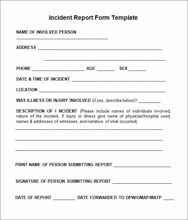 Incident Report form Template Awesome 10 Incident Report Templates Word Excel Pdf formats