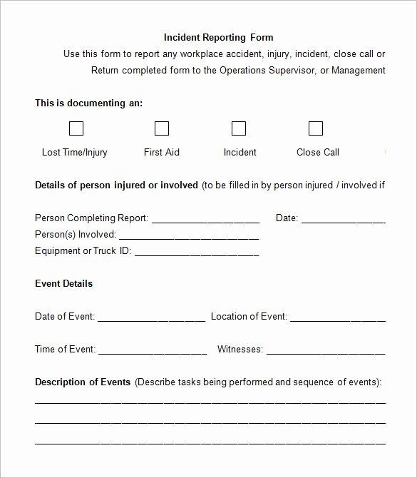Incident Report form Template Fresh 12 Employee Incident Report Templates Pdf Doc