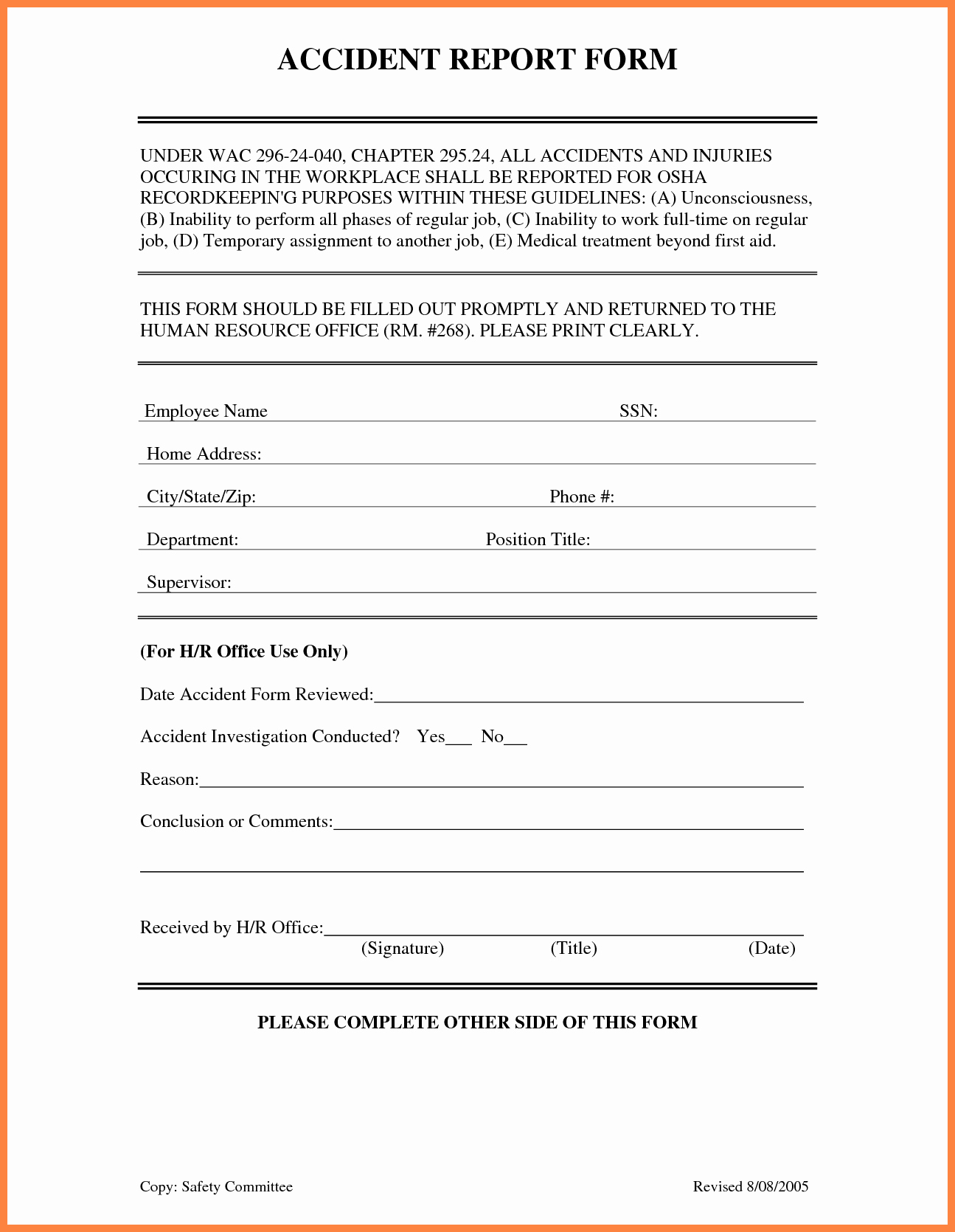 Incident Report form Template Fresh 4 Accident Incident Report form Template