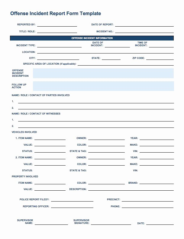 Incident Report form Template Lovely Free Incident Report Templates Smartsheet