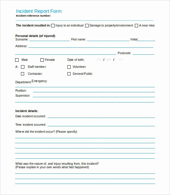 Incident Report form Template New 37 Incident Report Templates Pdf Doc Pages