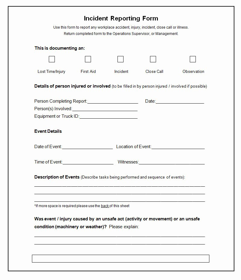 Incident Report Template Pdf Fresh 37 Incident Report Templates Pdf Doc Pages