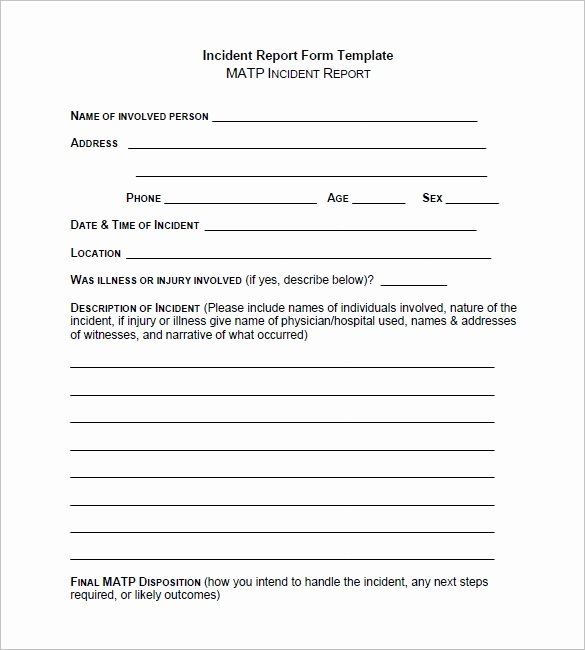 Incident Report Template Pdf Inspirational Incident Report Template