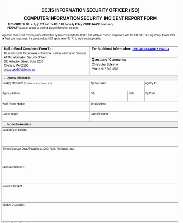 Incident Report Template Word Beautiful 13 Sample Security Incident Reports – Pdf Word