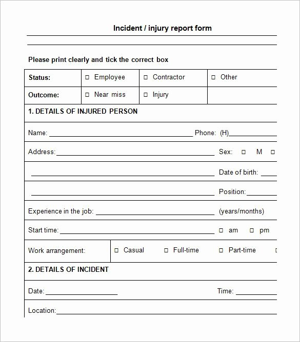 Incident Report Template Word Luxury Incident Report form Incident Report Template