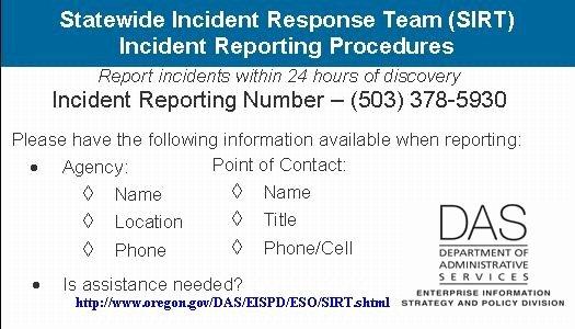 Incident Response Plan Template Fresh State Of oregon Oscio Security Incident Response