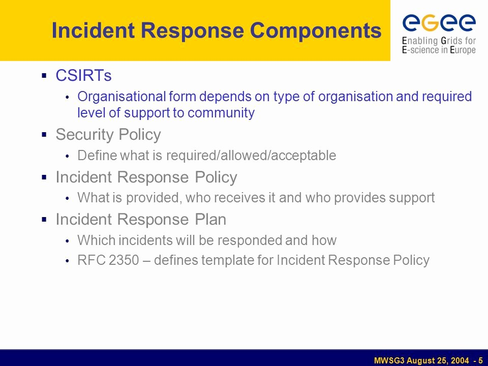 Incident Response Policy Template Fresh Mwsg3 August 25 2004 Jra3 Incident Response issues to