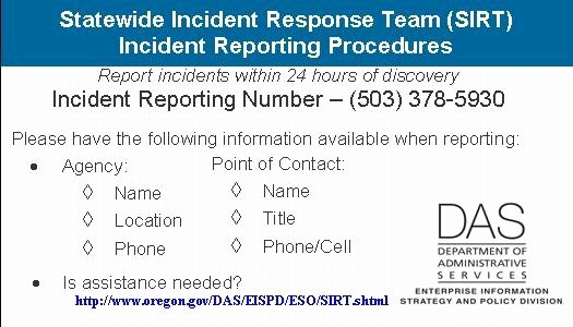 Incident Response Policy Template Inspirational State Of oregon Oscio Security Incident Response