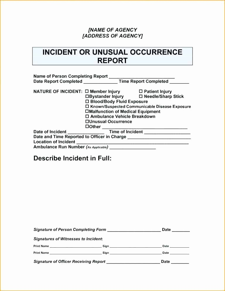 Incident Response Report Template Luxury Police Incident Report form Management Template Major