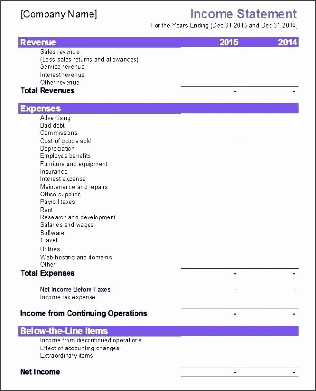 Income Statement Template Word Awesome In E Statement Template Pany Panys Balance Sheet