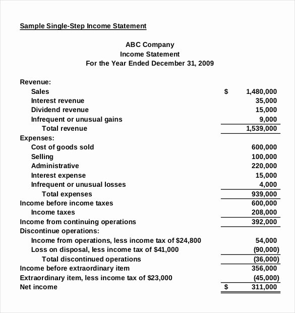 Income Statement Template Word Awesome In E Statement Templates – 23 Free Word Excel Pdf