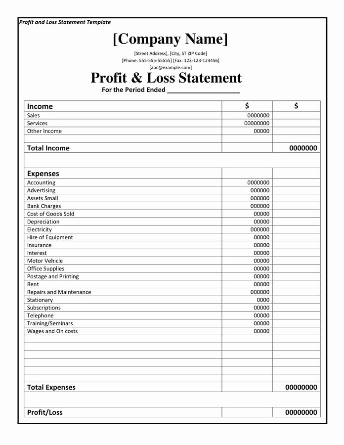Income Statement Template Word New Profit and Loss Statement Template Doc Pdf Page 1 Of 1