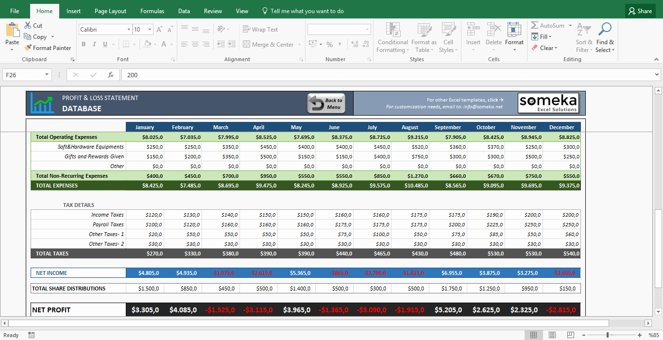 Income Statement Template Xls Awesome Profit and Loss Statement Template Free Excel Spreadsheet