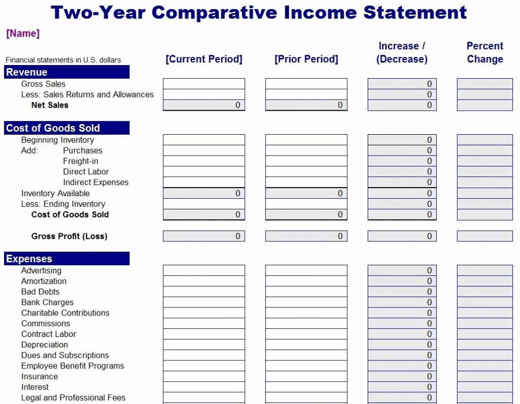 Income Statement Template Xls Best Of Parative In E Statement