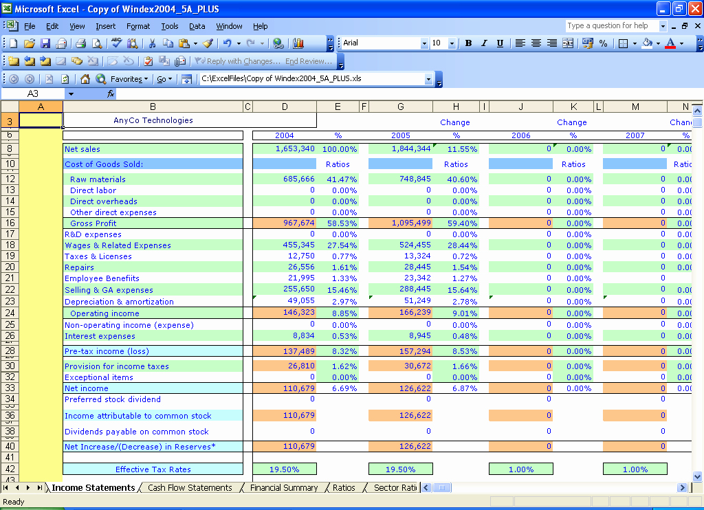 Income Statement Template Xls Inspirational Excel Templates Windex 5 Year Financial Ratios
