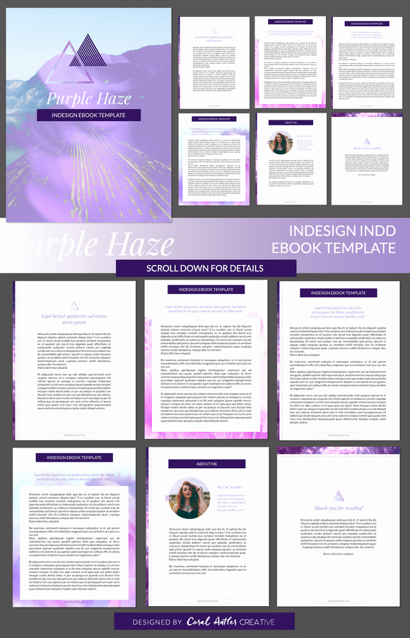 Indesign Book Cover Template Beautiful Purple Haze Indesign Ebook Template by Coral Antler