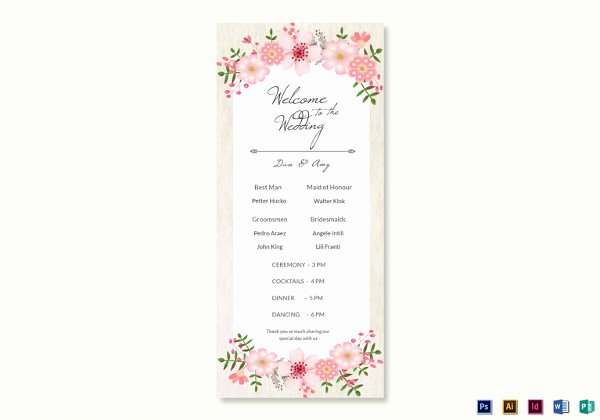 Indesign Wedding Program Template Awesome 26 Wedding Ceremony Program Templates Psd Ai Indesign