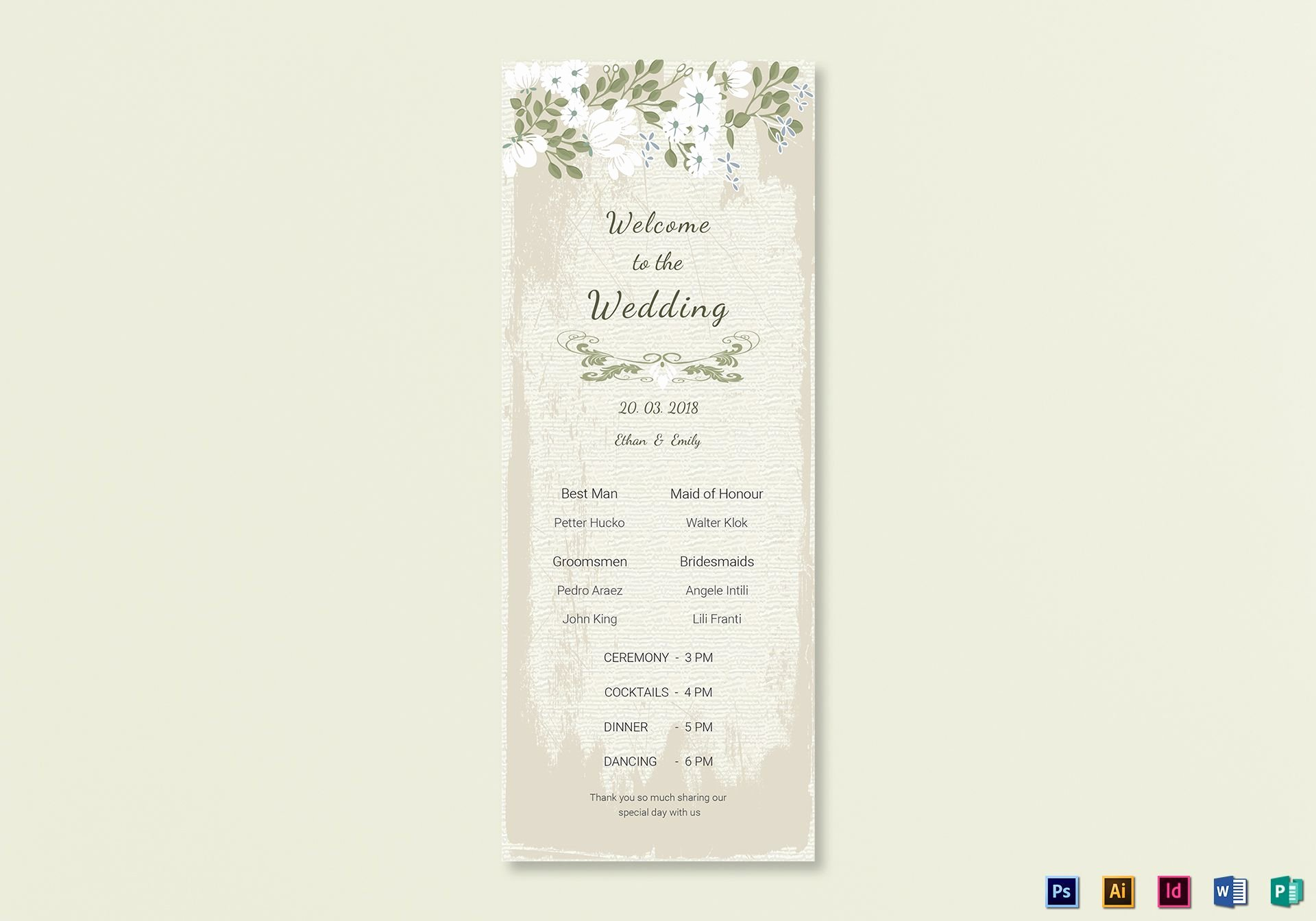 Indesign Wedding Program Template Awesome Vintage Wedding Program Card Template In Psd Word