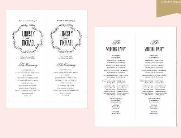 Indesign Wedding Program Template Beautiful 26 Wedding Ceremony Program Templates Psd Ai Indesign