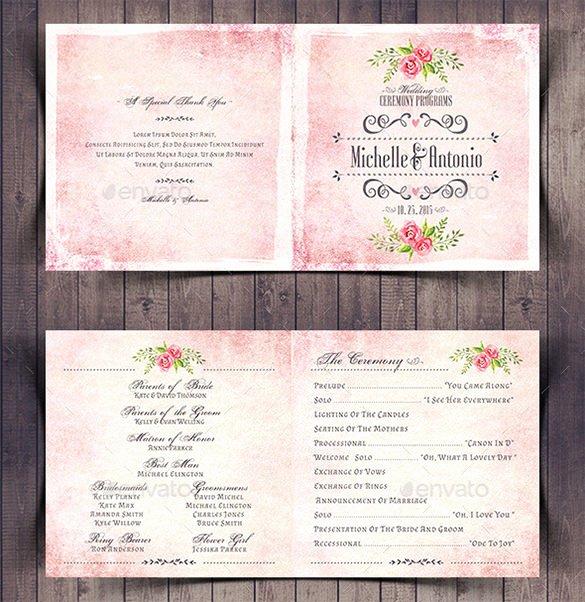 Indesign Wedding Program Template Elegant Wedding Ceremony Program Template 36 Word Pdf Psd