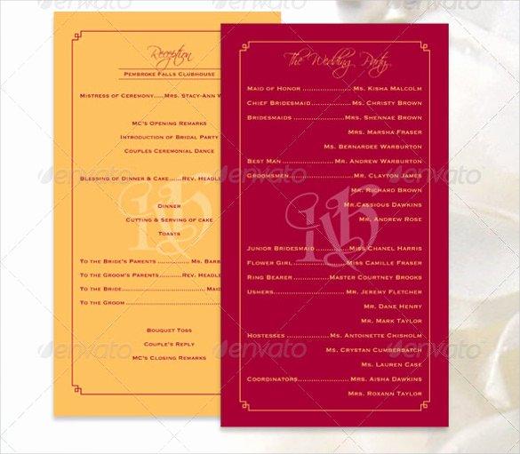 Indesign Wedding Program Template Luxury 26 Wedding Ceremony Program Templates Psd Ai Indesign