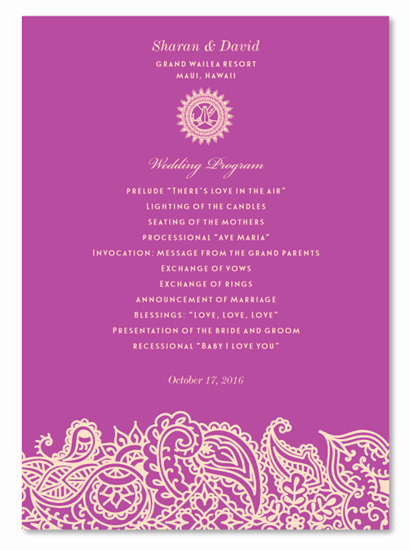 Indian Wedding Program Template Beautiful Indian Wedding Programs Bombay