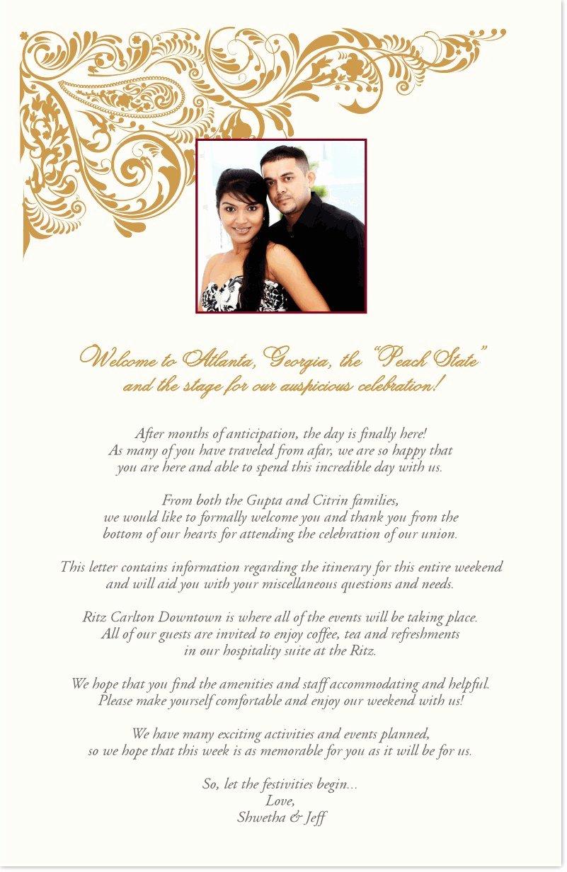 Indian Wedding Program Template Elegant Indian Wedding Wel E Letter