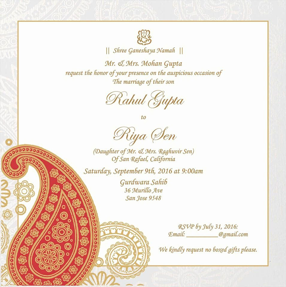 Indian Wedding Program Template Elegant Wedding Invitation Wording for Hindu Wedding Ceremony