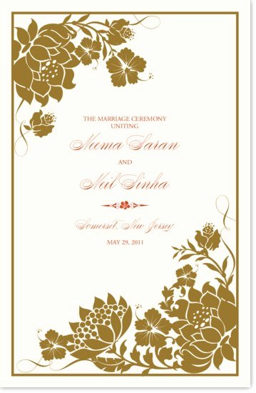 Indian Wedding Program Template Elegant Wedding Program Templates and Wording for Indian Wedding
