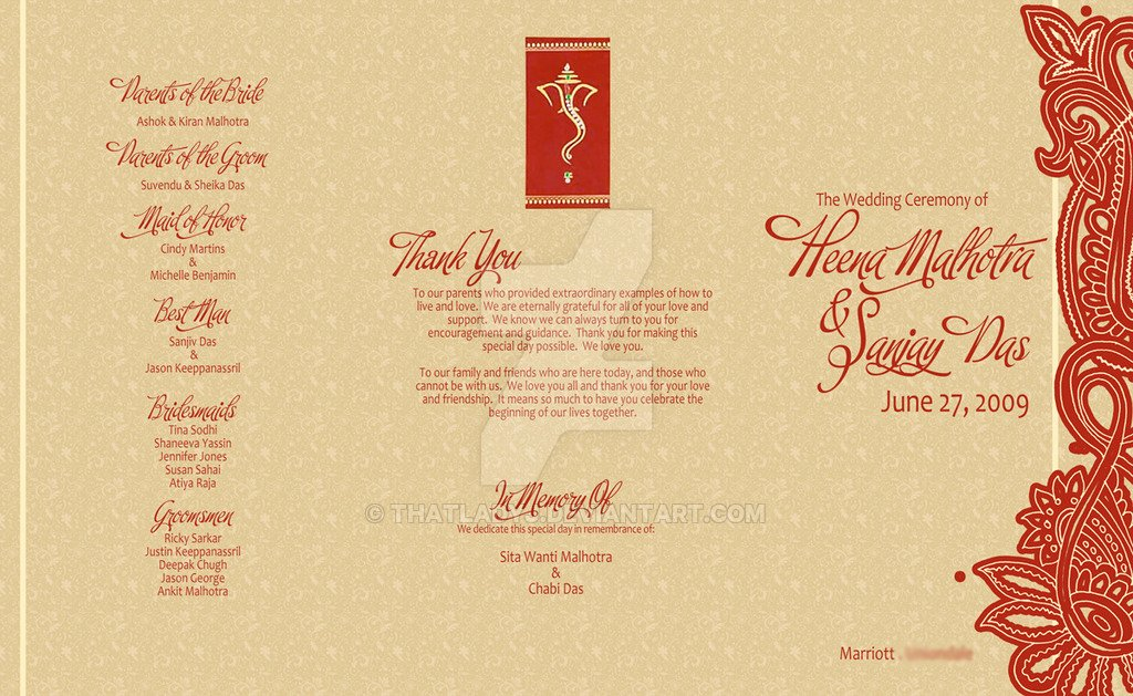 Indian Wedding Program Template Inspirational Wedding Program Hindu Ceremony by thatladyj On Deviantart