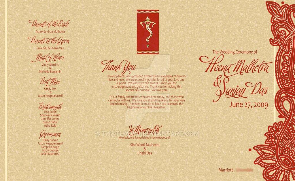 Indian Wedding Program Template Inspirational Wedding Program Hindu Ceremony by thatladyj On Deviantart