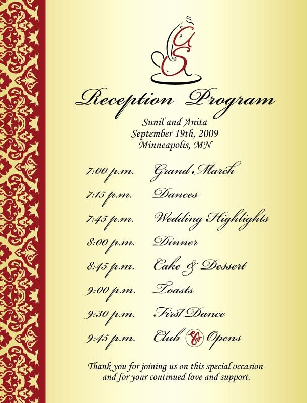 Indian Wedding Program Template Luxury Wedding Reception Program Sample