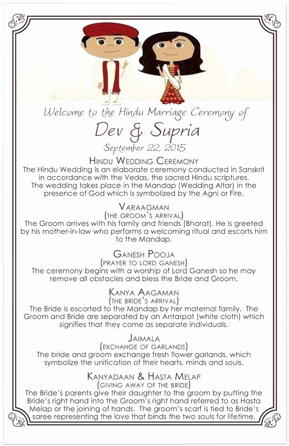 Indian Wedding Program Template Unique Indian Wedding Program Template