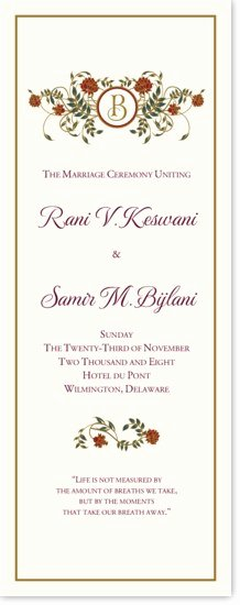 Indian Wedding Program Template Unique Wedding Program Templates and Wording for Indian Wedding