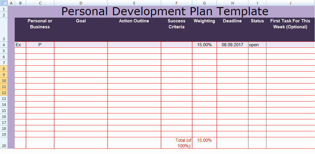 Individual Development Plan Template Best Of Get Personal Development Plan Template Excel