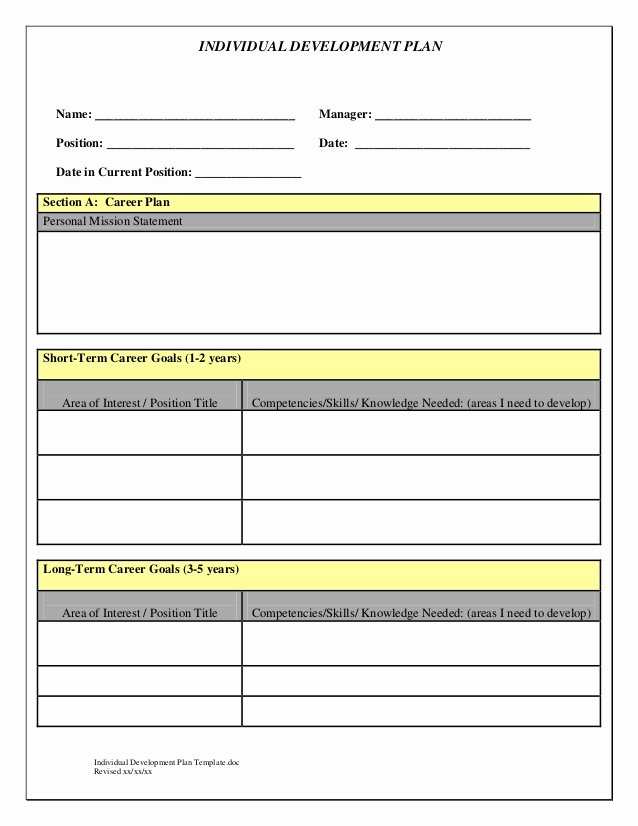 Individual Development Plan Template Fresh Indivedual Development Plan Temp