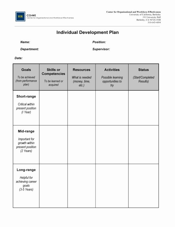 Individual Development Plan Template Lovely Employee Career Development Plan Template