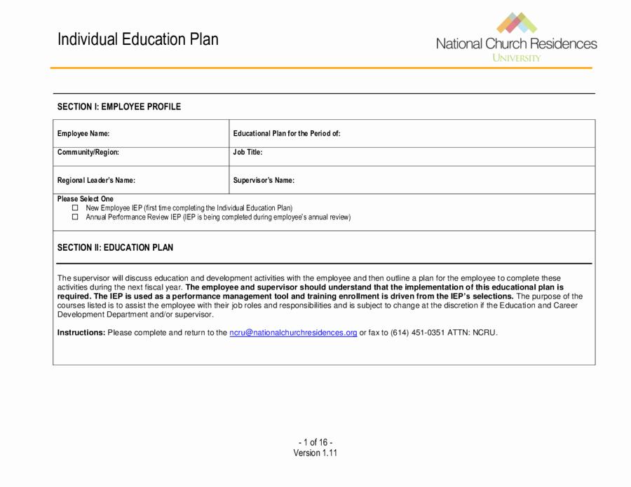 Individual Learning Plan Template Fresh 2018 Individual Education Plan Fillable Printable Pdf