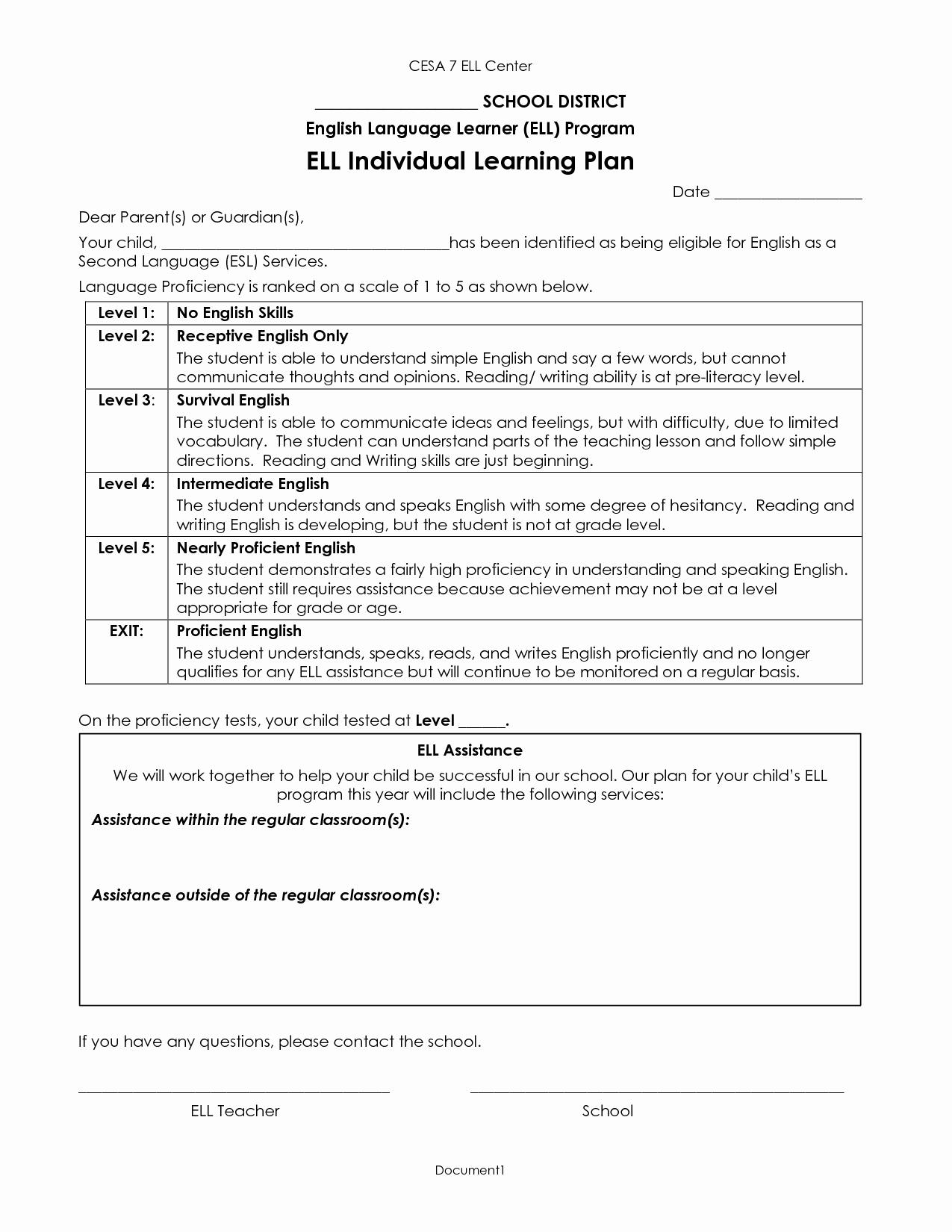 Individual Learning Plan Template Inspirational Best S Of Individual Program Plan Sample Individual