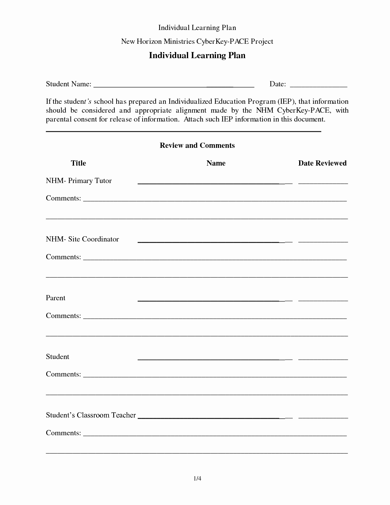Individual Learning Plan Template New Individual Learning Plan Sample Success