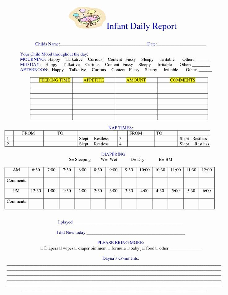 Infant Daily Report Template Awesome Daily Report Sheet Images Daily Notes