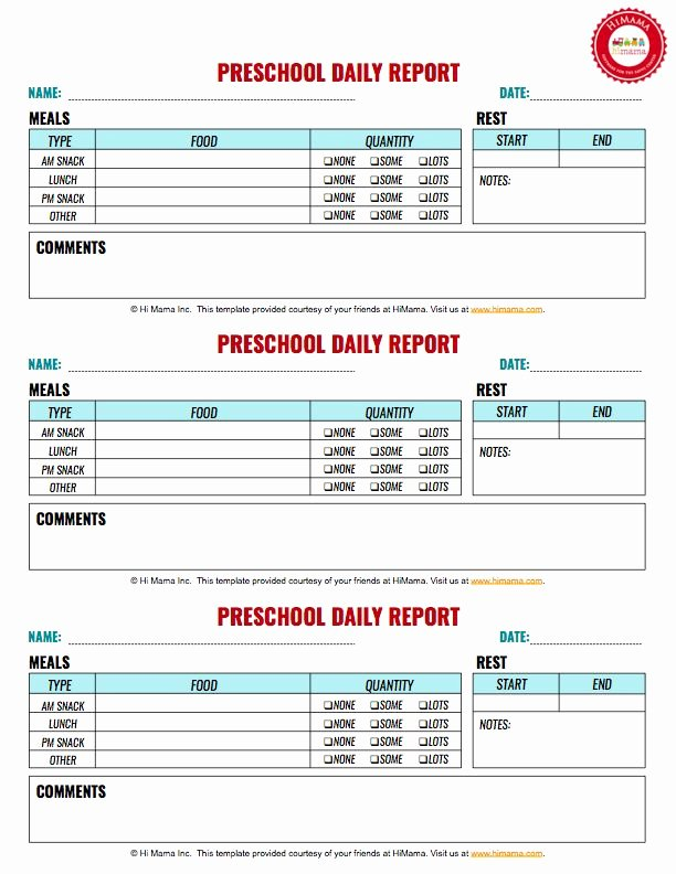 Infant Daily Report Template Best Of 12 Best Infant toddler & Preschool Daily Report Templates