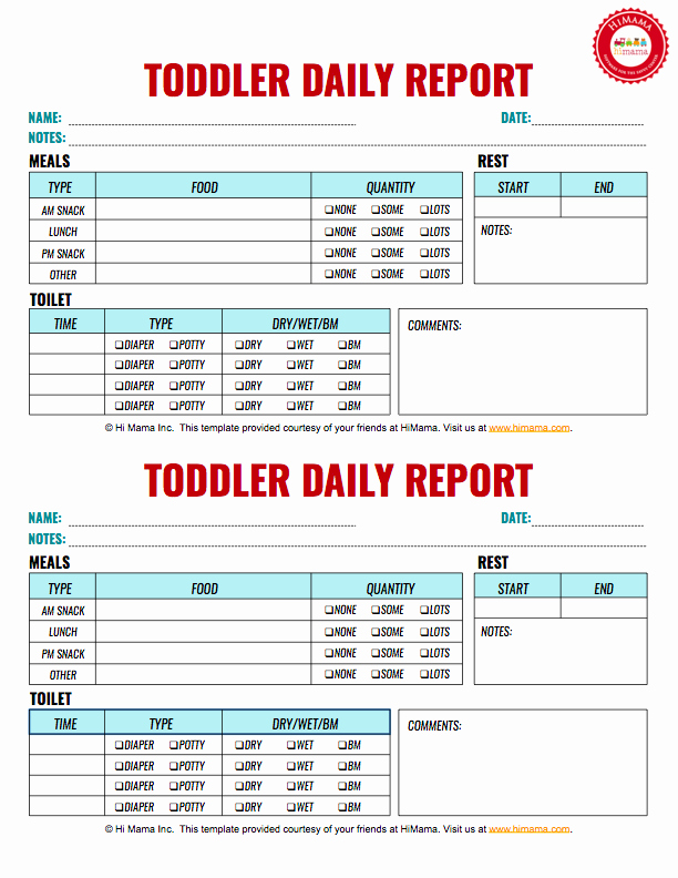 Infant Daily Report Template Best Of Himama Daycare Daily Sheets Reports forms and