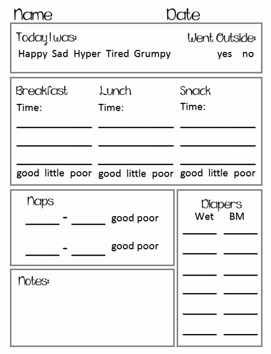 Infant Daily Report Template Elegant Preschool toddler Daily Report Chart